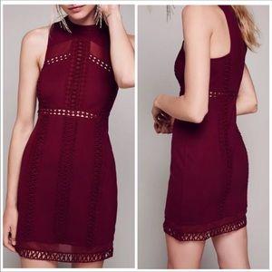 NWT $250 Free People maroon mesh mini dress